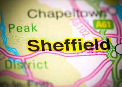 Map showing Sheffield
